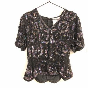 Vintage | Papell Boutique Evening | Sequin Top